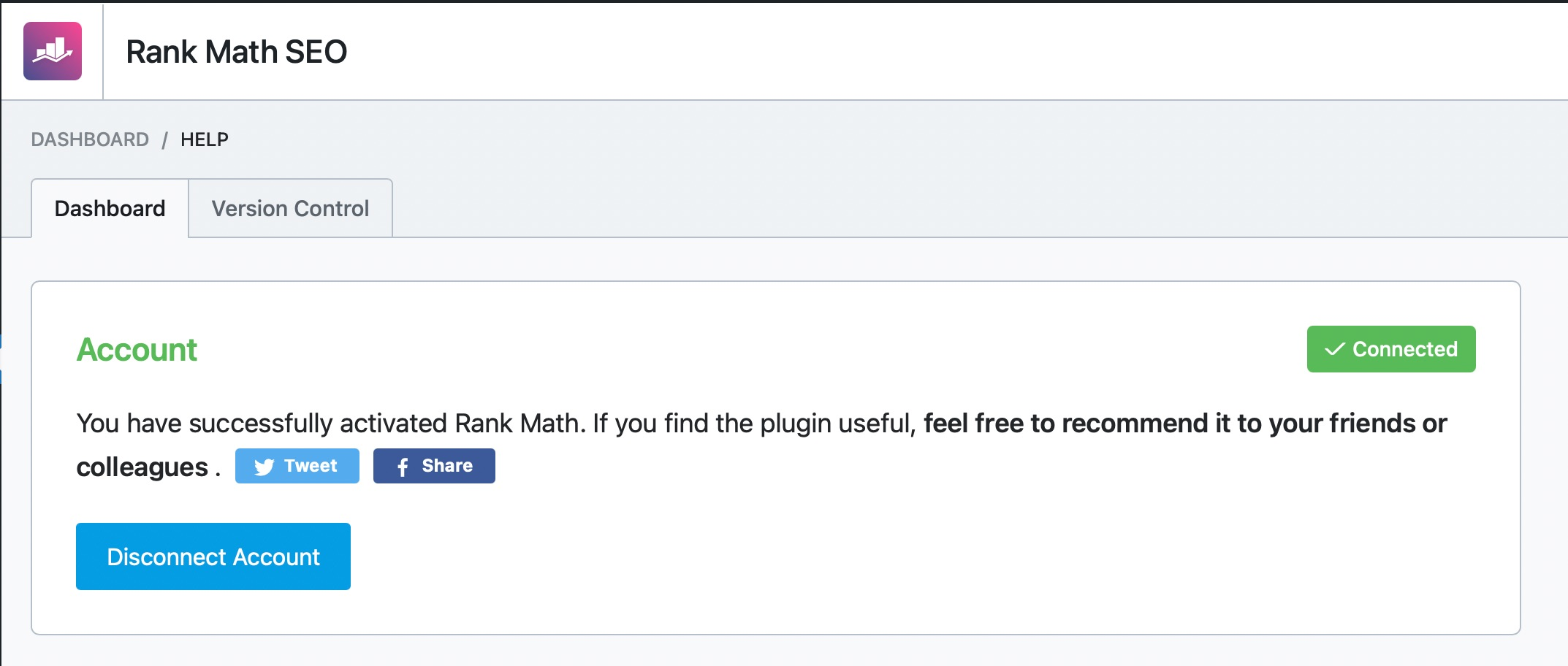 Rank Math free version activated