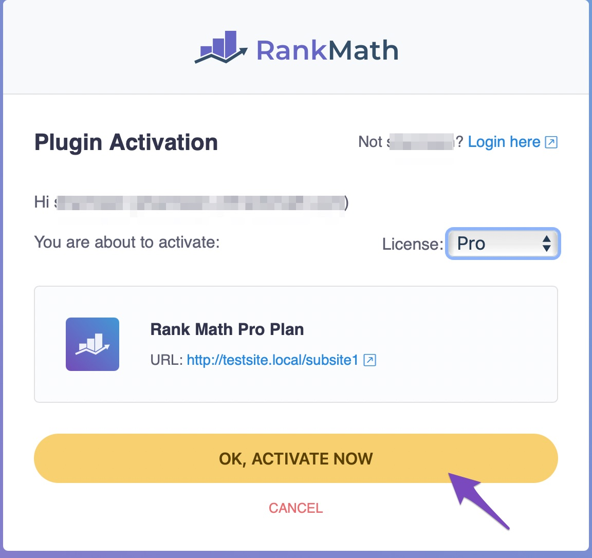 Rank Math PRO plugin activation
