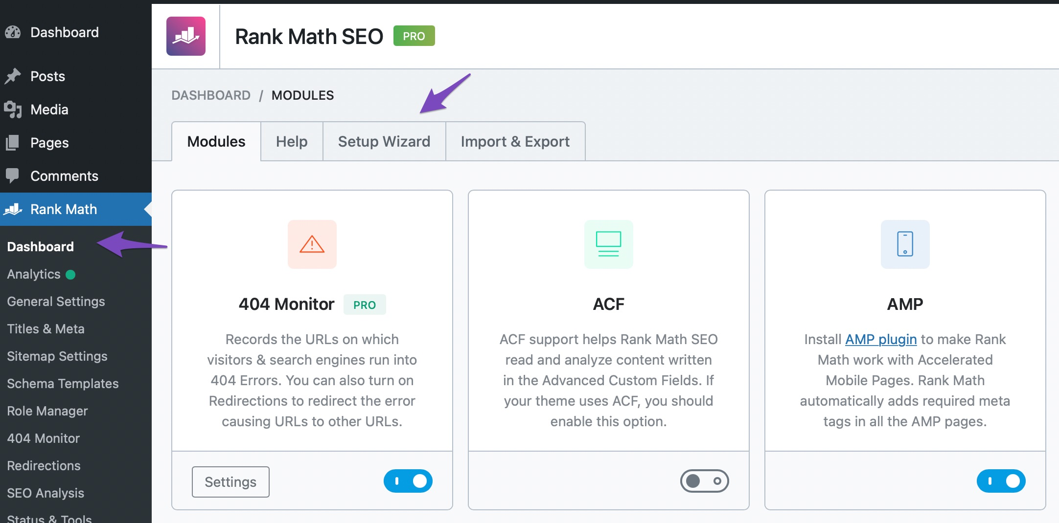 Initiate Rank Math Setup Wizard from Rank Math Dashboard