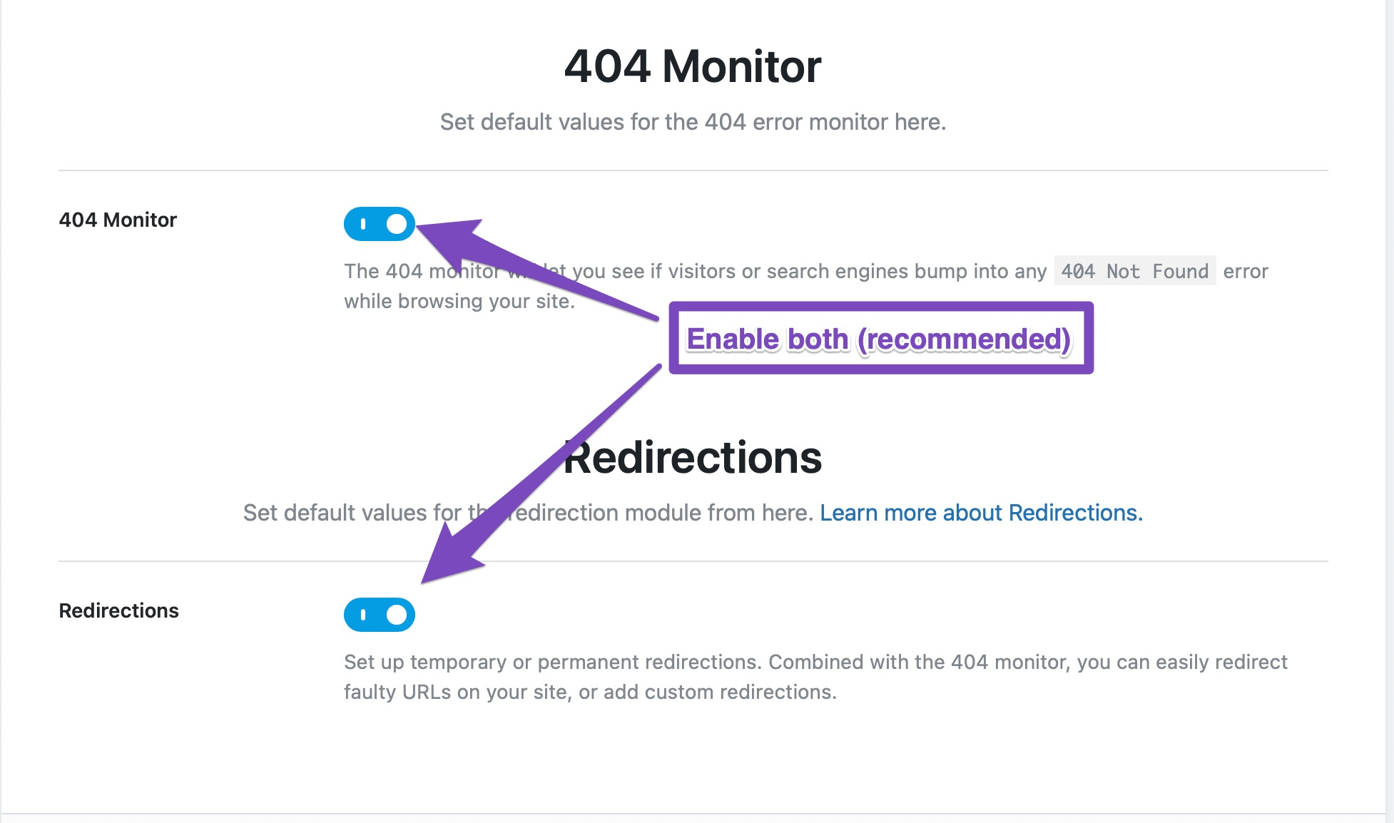404 Monitor And Redirection Settings In Rank Math