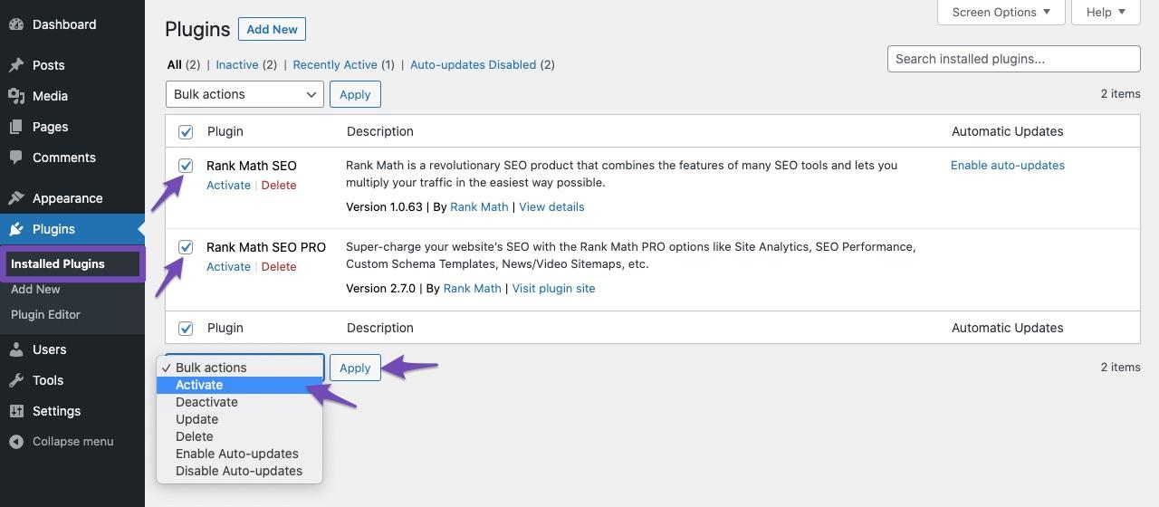 Activate Rank Math plugins
