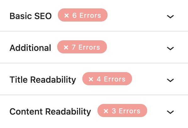 All SEO recommendation sections in Rank Math