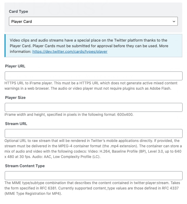 All options in Twitter player card