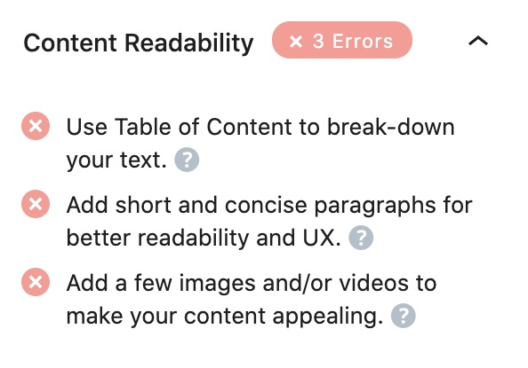 All tests performed in the Content Readability section