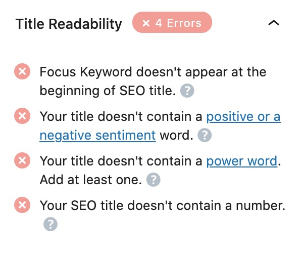 All tests performed in the Title Readability section