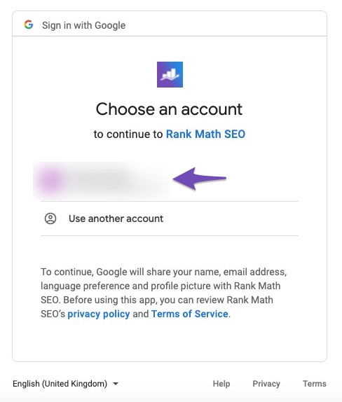 Connect Google account with Rank Math SEO