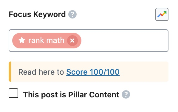 Focus Keyword section in Rank Math