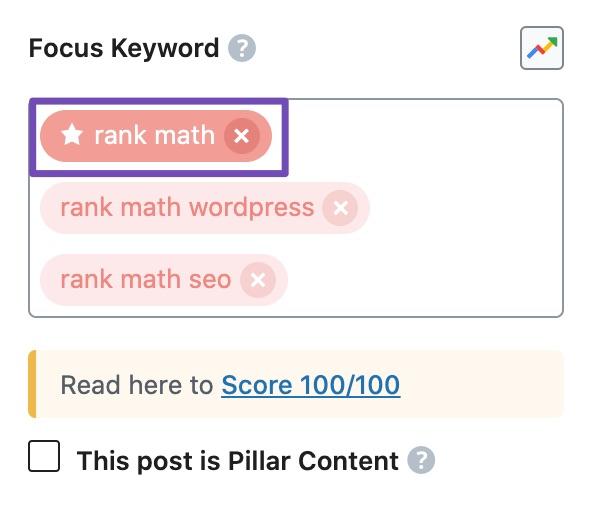 Identifying primary focus keyword in Rank Math