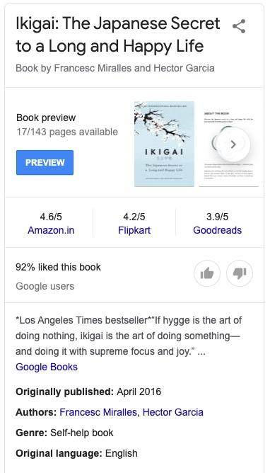 Ikigai - book schema type example