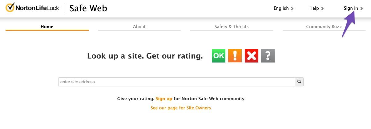 Login to Norton Safe Web Portal