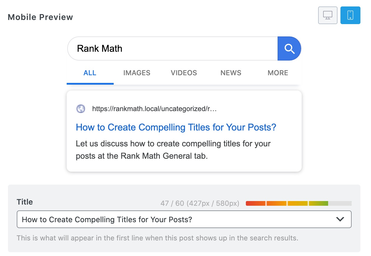 Mobile preview of post in Rank Math