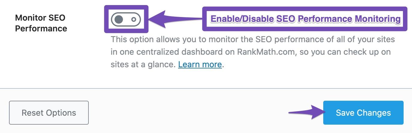 Enable/Disable Monitor SEO Performance option