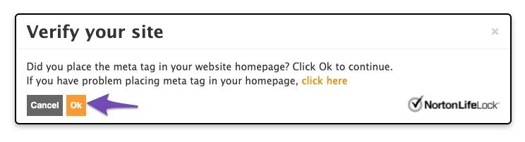 Norton Safe Web site ownership verification confirmation prompt