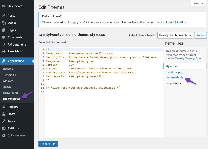 Open rank-math.php file in Theme Editor