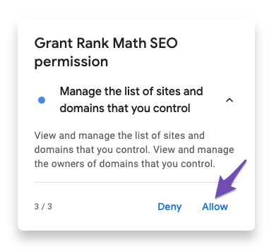 Permission to manage the list of sites and domains that you control