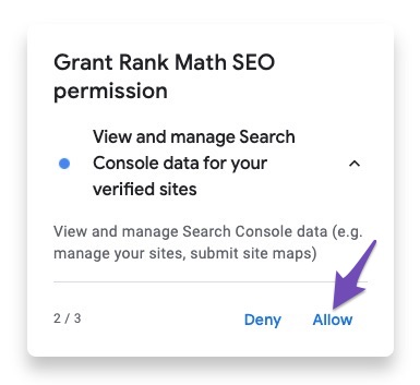 Permission to view and manage Search Console data for your verified sites