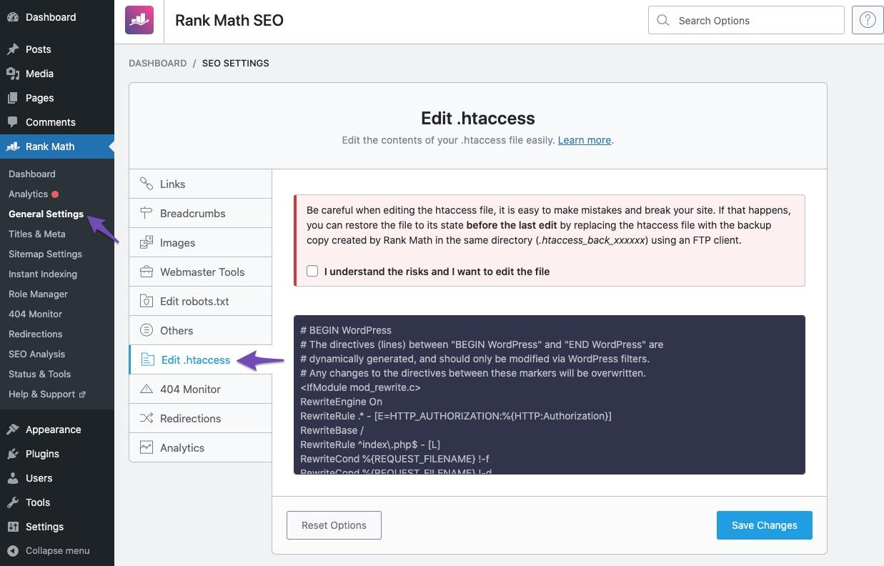 Rank Math edit .htaccess settings