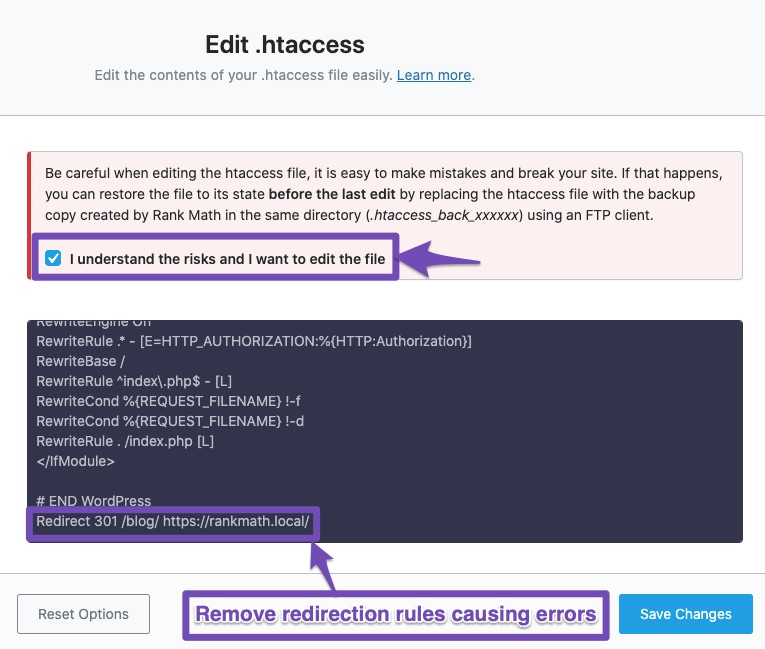 Remove redirection rules causing errors