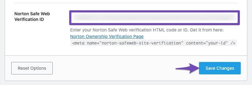 Save Changes - Norton Safe Web Site verification