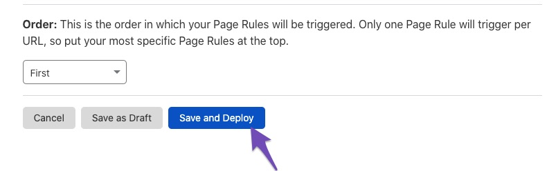 Save and deploy page rule in Cloudflare