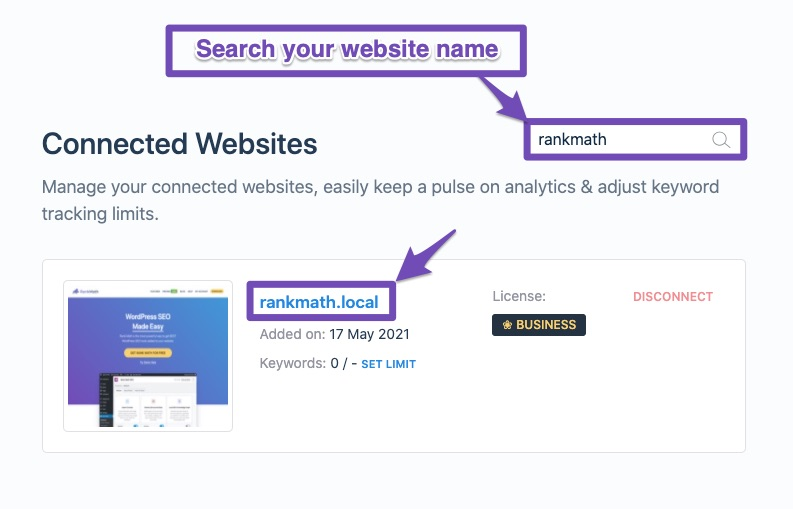 Search box inside Client Management dashboard
