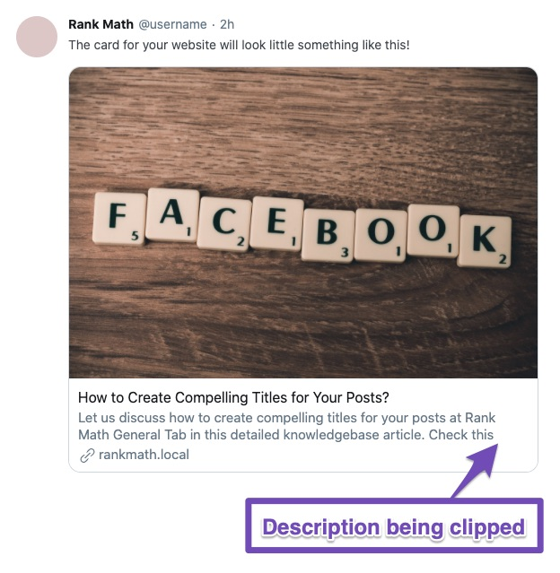 Twitter sharing description being clipped