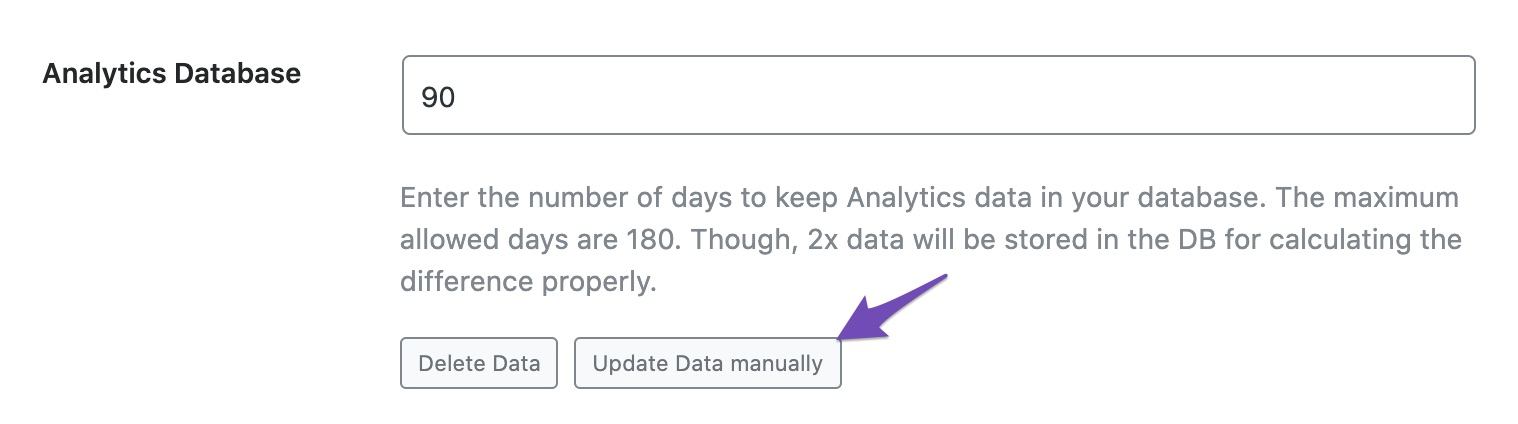 Update Analytics database manually