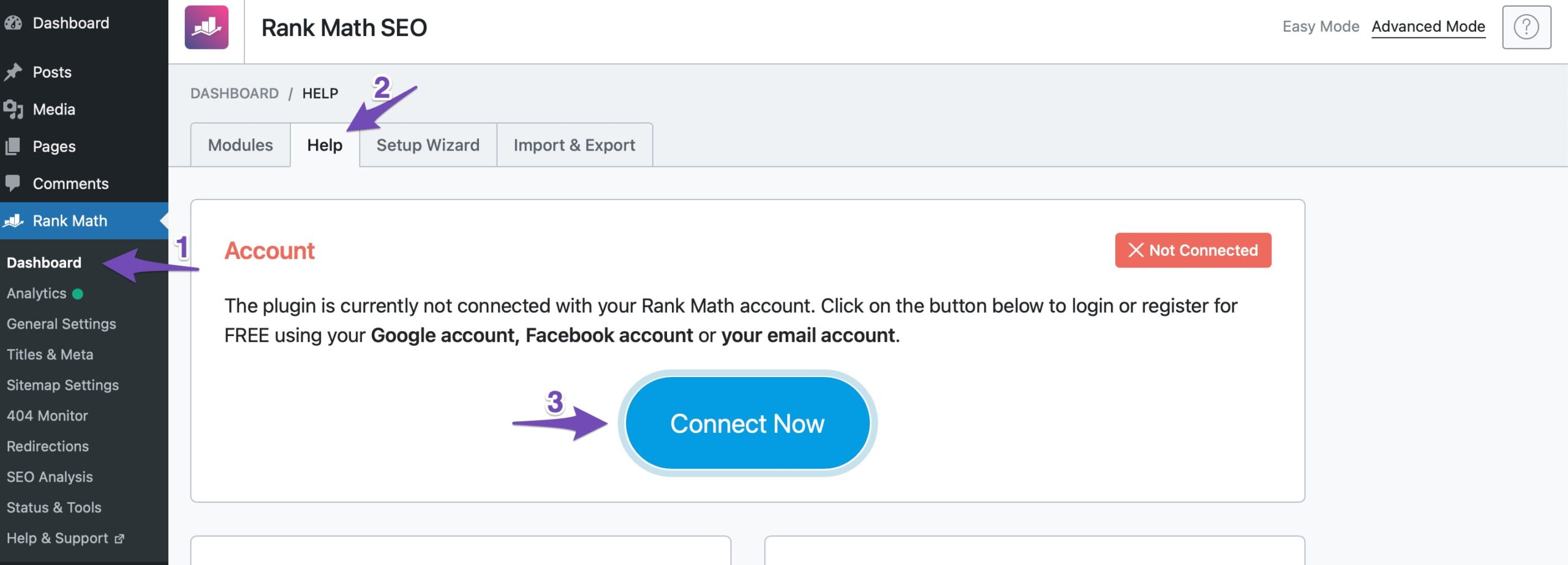 Connect Rank Math Account