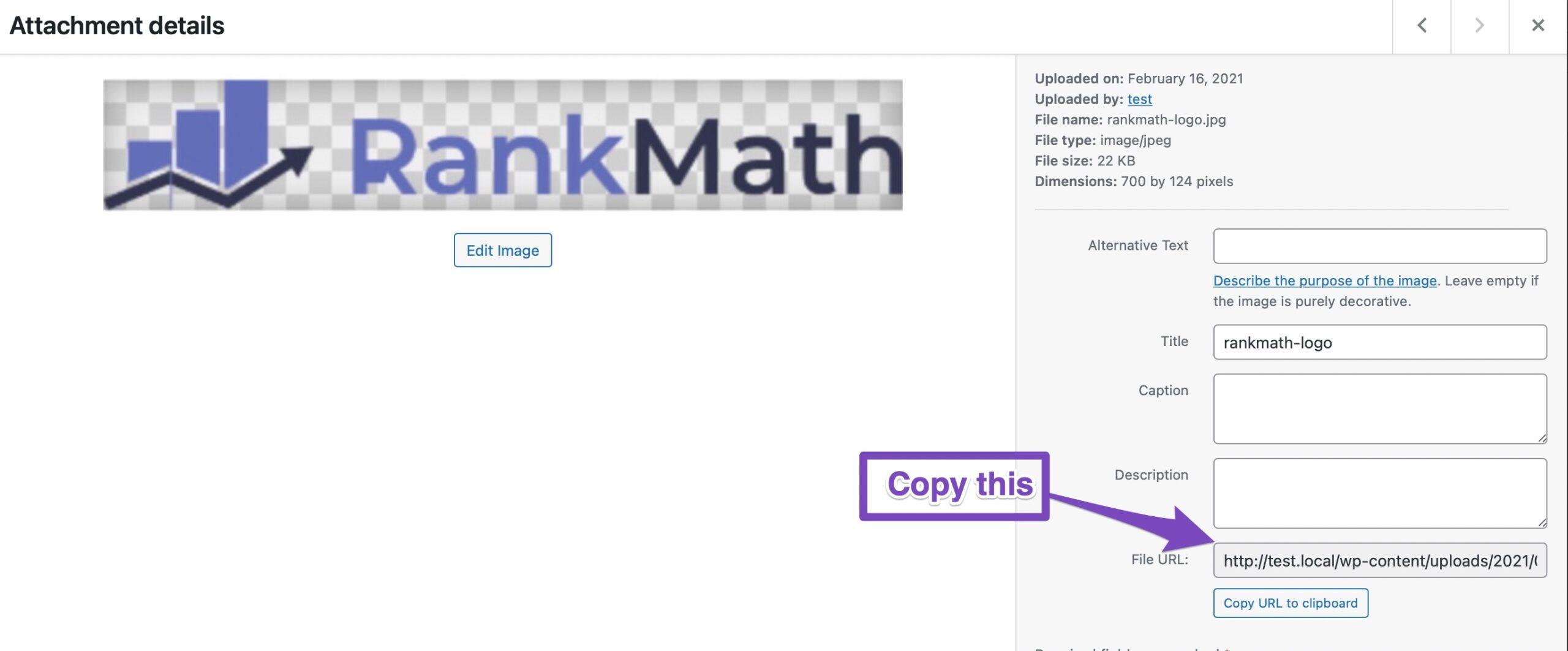 copy URL of uploaded organization logo
