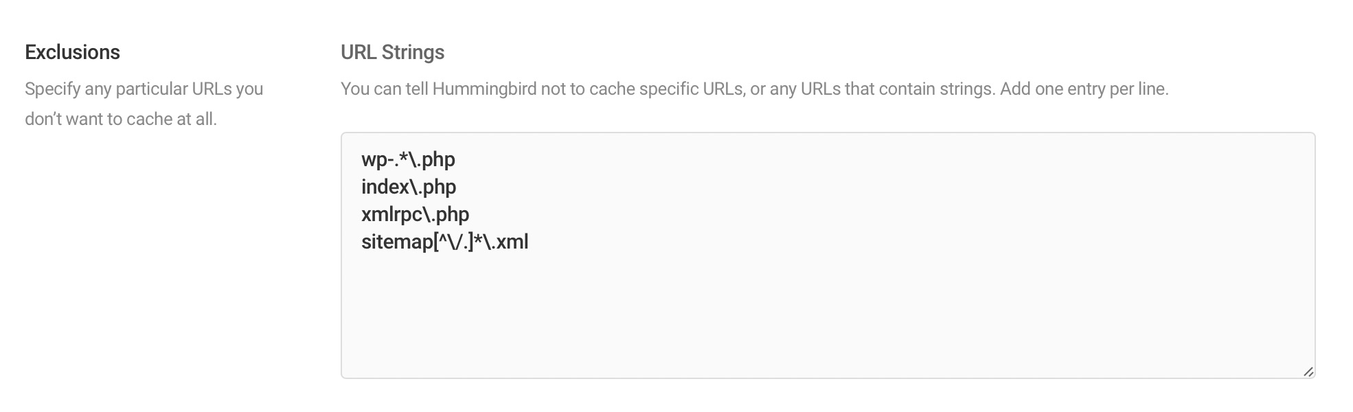 Exclusions in Hummingbird Cache