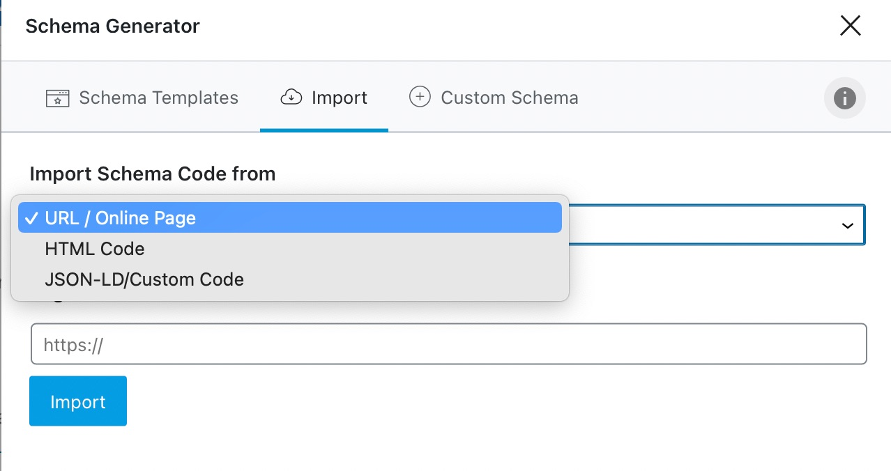 Options To Import Schema From