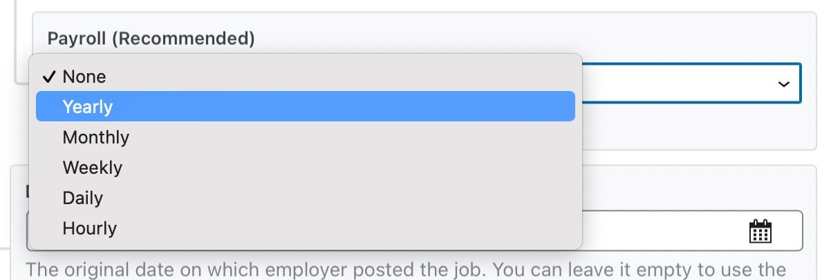 Payroll Options In Job Schema