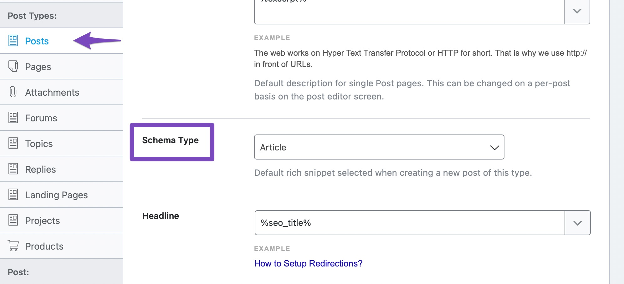 Select Default Schema Type For Posts