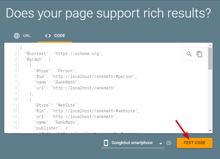 Test Code In Google Rich Results Testing Tool