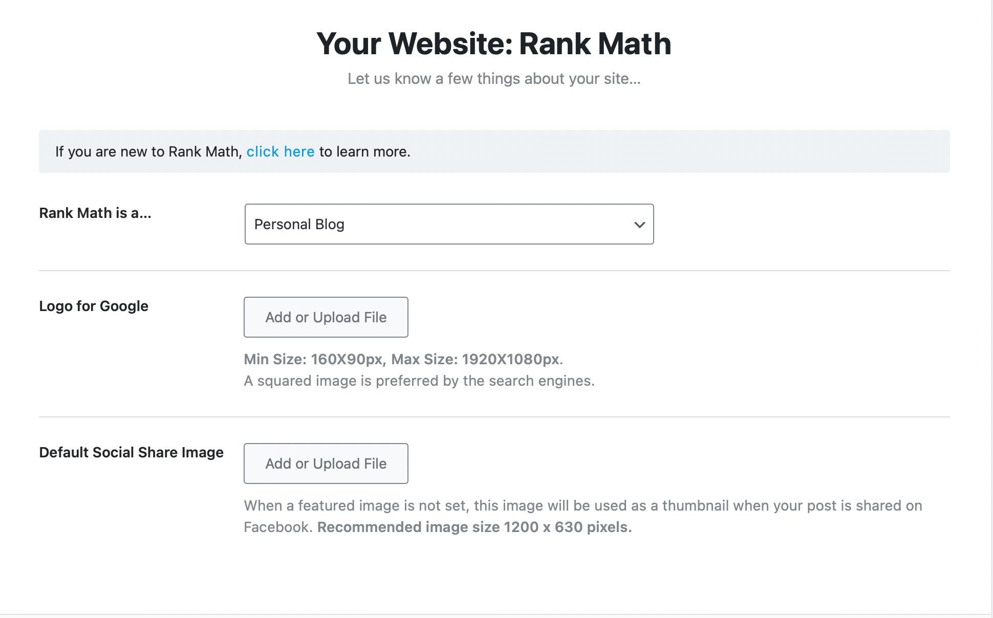 Your website details - Rank Math Setup Wizard