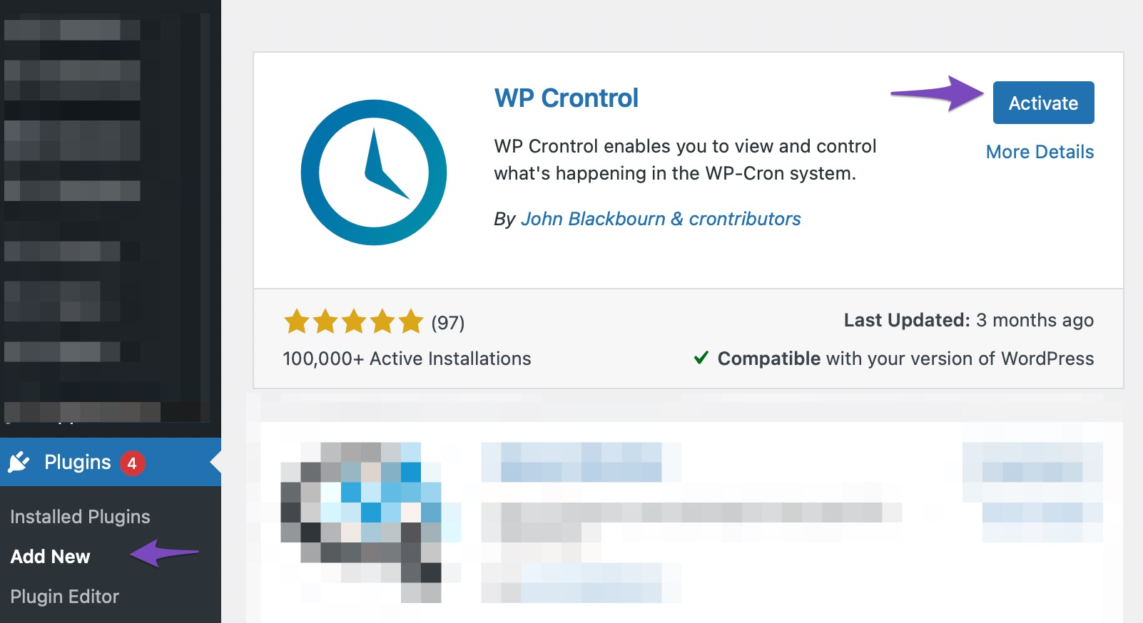 Install and Activate WP Crontrol plugin