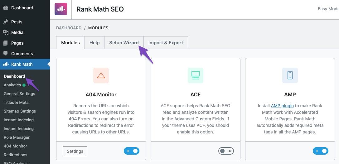 Access Rank Math Setup Wizard