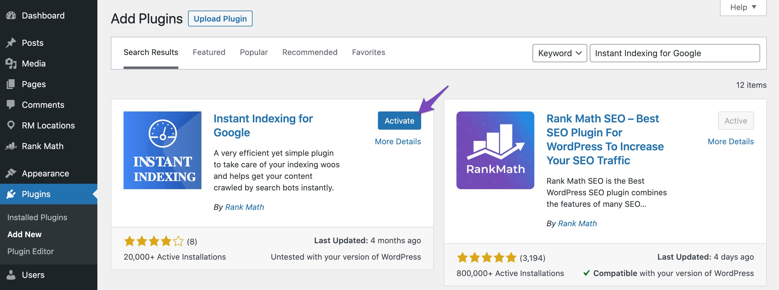 Activate Instant Indexing for Google plugin