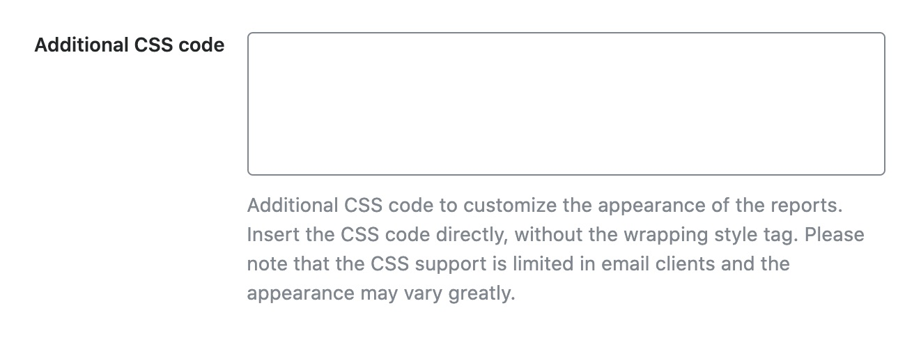 Additional CSS code