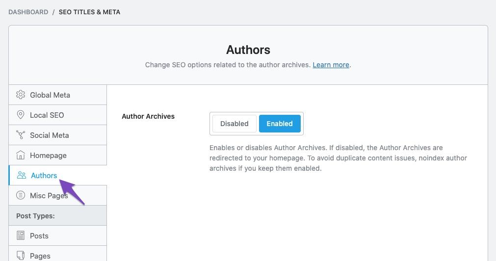 Authors SEO Titles & Meta settings