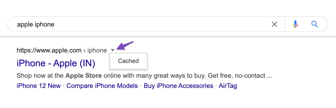 Cached pages available in Google search results
