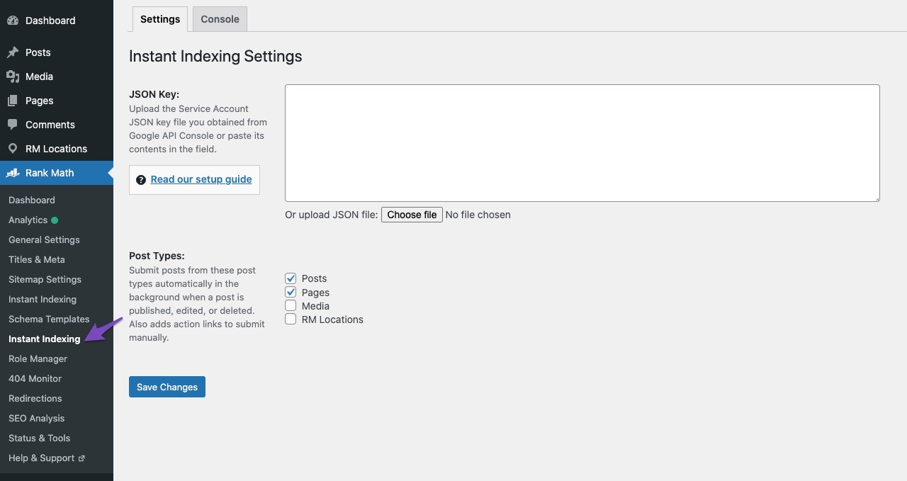 Configuring Instant Indexing for Google