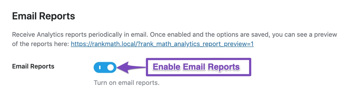 Enable Email Reports