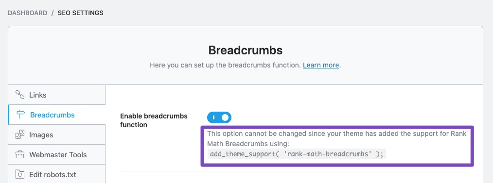 Enable breadcrumbs feature with theme support