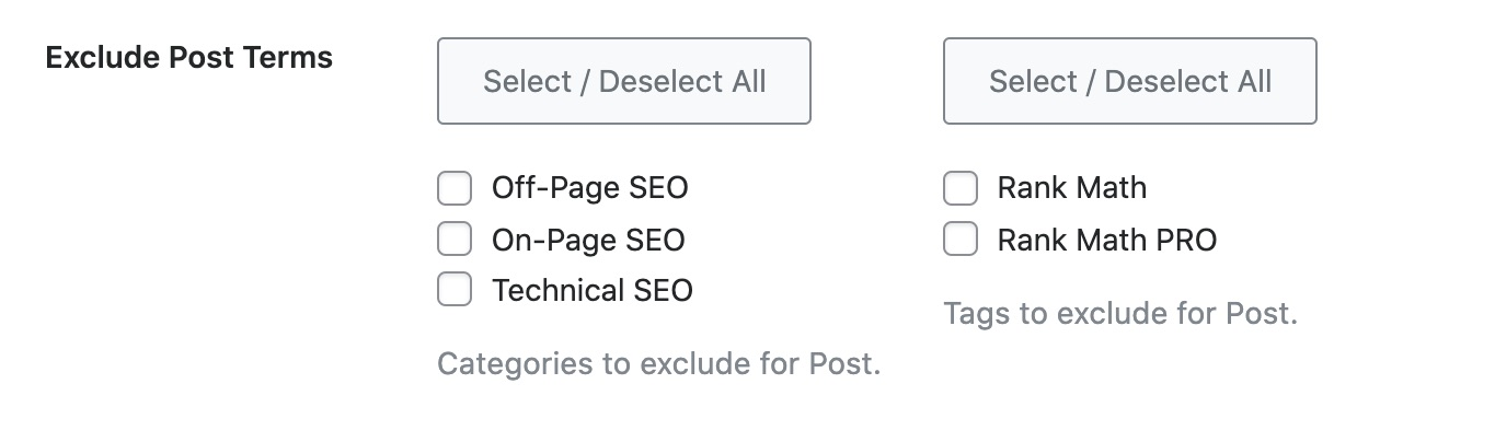 Exclude Post Terms