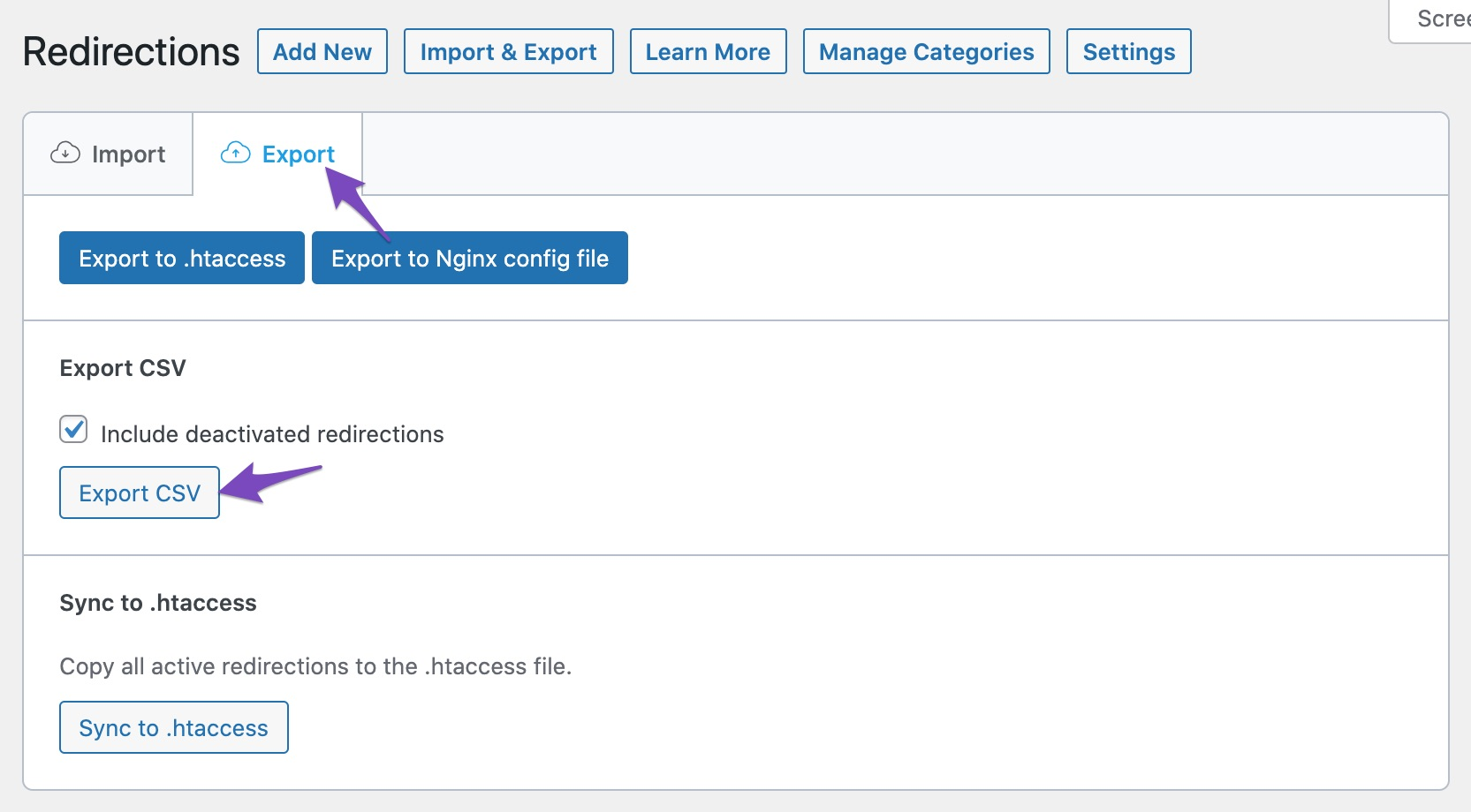 Export redirections as CSV