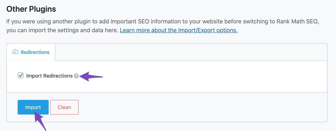 Import redirections from the Redirection plugin