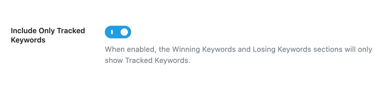 Include Only Tracked Keywords