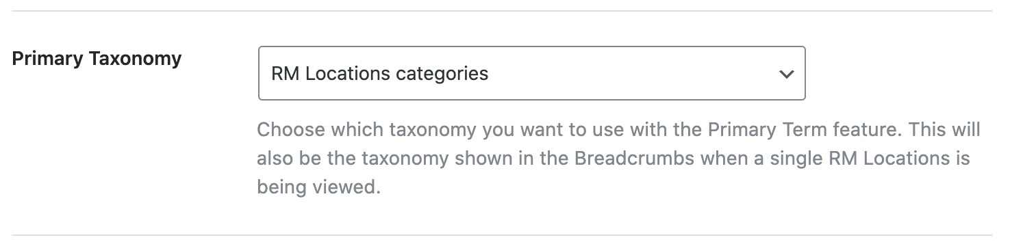 Primary taxonomy for RM Locations