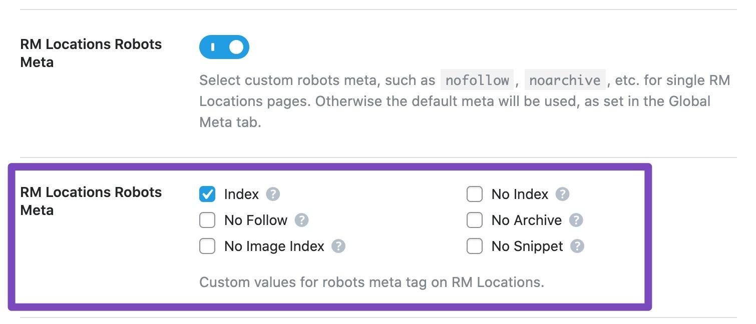 RM Locations robots meta custom settings